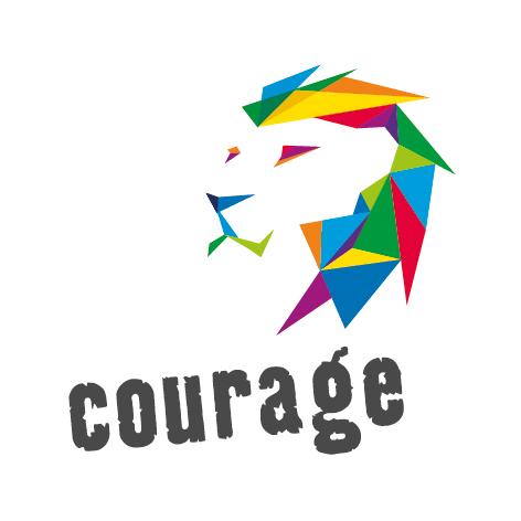 Courage-in Bayern-Logo, ein bunter Löwe mit Courage Schriftzug