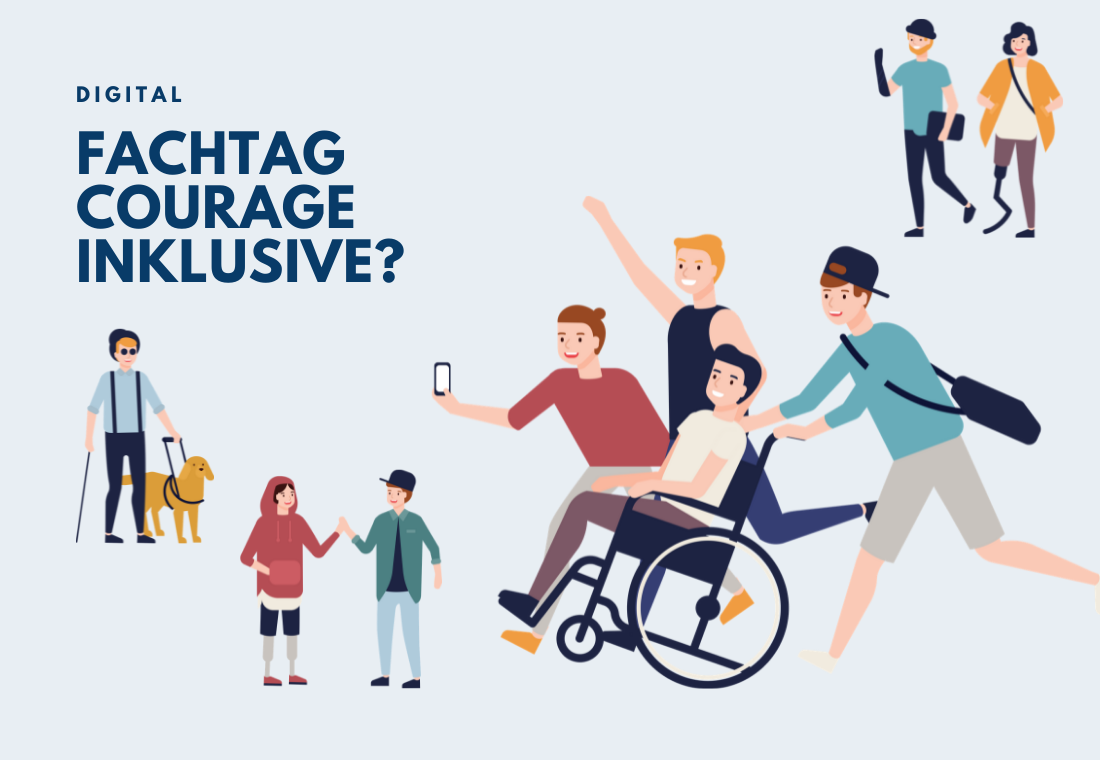 Auf dem Bild sind Illustrationen von jungen Menschen mit Einschränkungen und Behinderungen. Ein junger Mann mit Blindenstock und Bilndenhund, zwei Jugendliche, die sich begrüßen, vier Freunde, von denen einer im Rollstuhl sitzt und die rennend on sich ein Selfie machen.